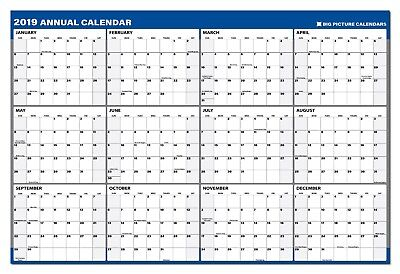 """2019 Annual Laminated Erasable Wall Calendar 24"""" x 36"""", Reversible/Double Sided"""