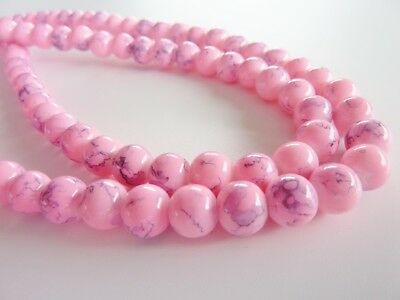 100 pce Pink Drawbench Glass Spacer Beads 8mm Jewellery Making Craft