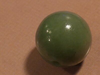 Antique Chinese Apple Green Hues Jade Necklace Bead 8.2 Mm Wide Gorgeous Green