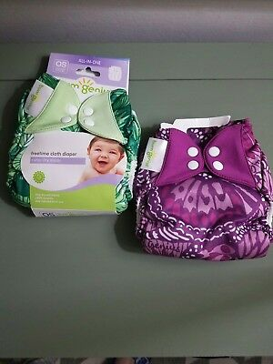 Bumgenius Freetime All-In-One Cloth Diapers Lot of 2 EUC