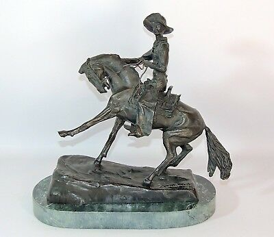 "Frederic Remington ""The Cowboy"" Bronze Sculpture Statue Marble Base SIGNED"