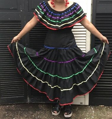 Mexican Folklorico Dress, Latin Dance, Hispanic costume Ballet Size large