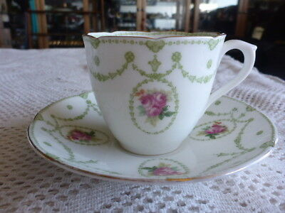ANTIQUE ROYAL DOULTON ROSEBUDS TEA CUP SAUCER DUO 1920s