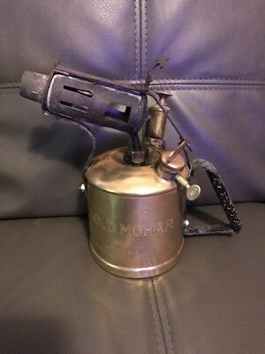 Vintage Brass Blow Torch Engraved Gold Mohar
