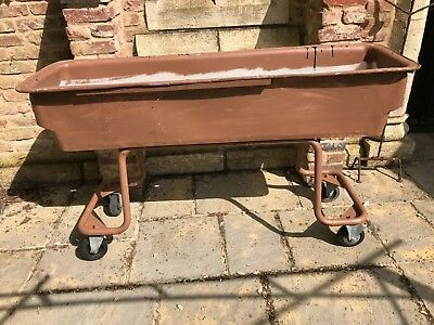 Large Industrial Garden trough Planter on Frame Wheels