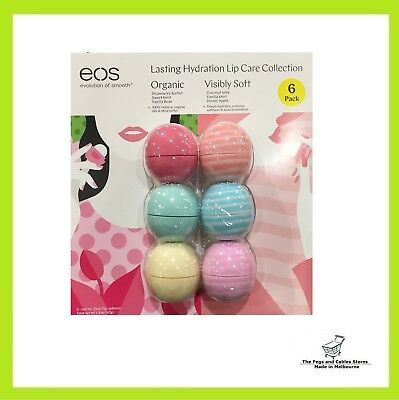 EOS Lip Balm 6 Pack Lasting Hydration Lip Care Collection Organic Soft