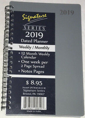 "NEW 2019 Weekly Monthly Planner Signature Series Calendar Gray Spiral 5""x8"""