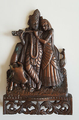 Wanddekoration, Krishna, Indien, Metall-Relief, Handarbeit / Wall decoration