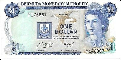 1975 Bermuda Monetary Authority - Bermuda 1 Dollar in AU Condition Pick: 28