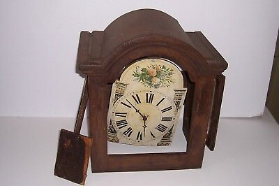 Vintage Antique Tall Clock Bonnet with Wooden Face and Gears Arch Top