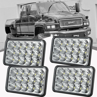 "4pc 4x6"" Led Hi/Lo Beam Headlights Sealed Headlight For Peterbilt 379 378 357"