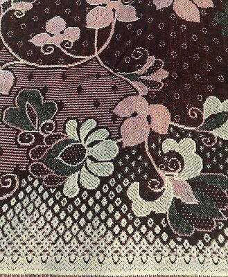 Vintage Throw Blanket Cotton Wool Reversible Floral Pattern NEW  Made in USSR