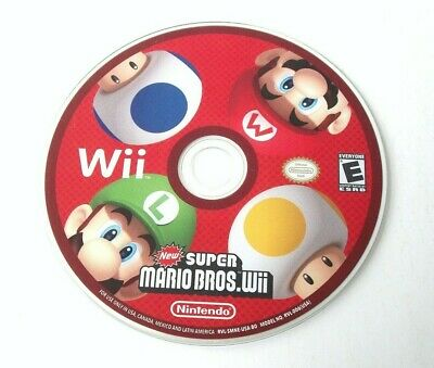 New Super Mario Bros. Wii (Nintendo Wii) Disc Only Platformer Co-op Family Game