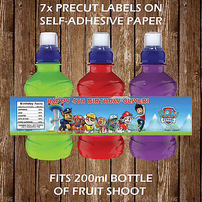 Personalised Nickelodeon Cartoons Fruit Shoot Labels Childrens Party Favours