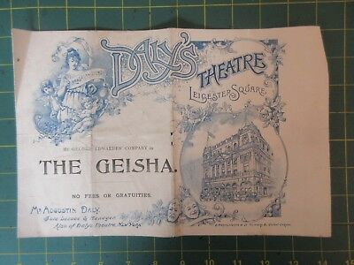 Daly's Theatre programme The Geisha c1898 Coffin Letty Lind Jessica Lait C Hayde