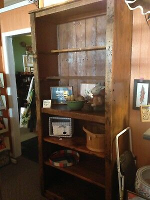 Primitive Solid Pine Bookcase 7' H Antique Furniture Farmhouse Decor