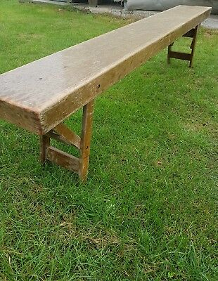 Lovely Vintage 1953 Rustic School/gym Bench - Folds Down - No Reserve.