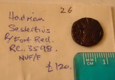 Hadrian  Sestertius  R/Fort Red.  RC AS 3598  NVF/F  Roman Coin