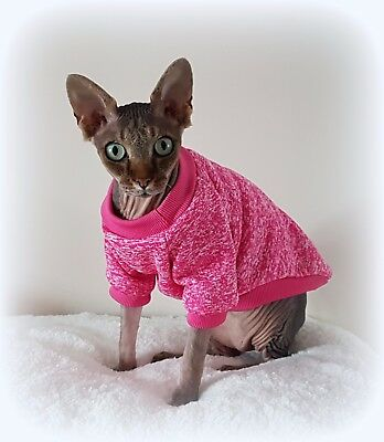 long sleeves MARL PINK cat jumper for a Sphynx  cat, cat clothes, sweater