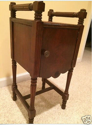 Antique Wood Plant Stand / Side Table w/ Cabinet, Door, Turned Legs - Exc.
