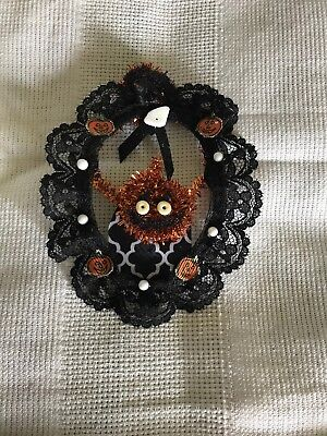 """Miniature Dollhouse Halloween Wreath Handcrafted, Unique 4.5""""x3.5"""" With Hanger"""