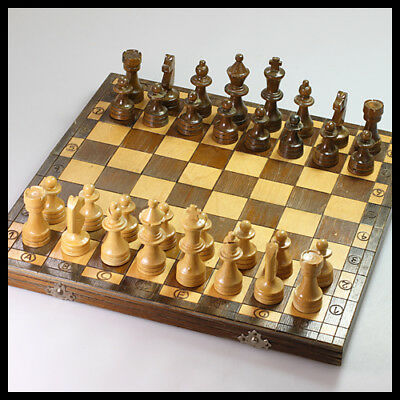 collectable old rare vintage antique England Wooden Box Board Pawns Chess