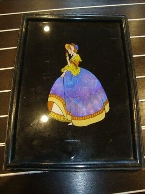Large Butterfly Wing Art Deco Picture Of A Lady VGC Framed & Glazed