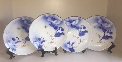 Antique Japanese Plates Meiji Period Porcelain 4 Dish 19th Century Signed Japan