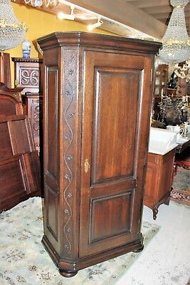 French Solis oak  Louis XIV 1 Door Cabinet /  Hanging or Shelves