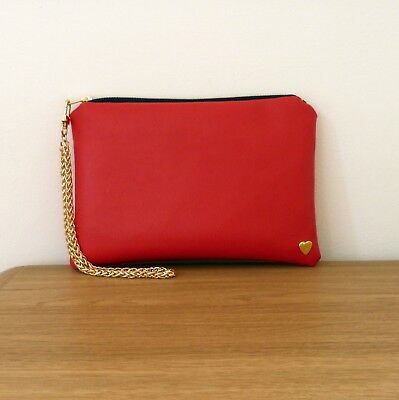 Clutch Bag Tulip Hand Floral Wrist Strap Faux Leather Chain Flat Handmade Travel