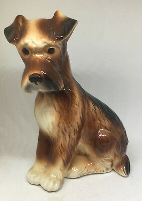 "Vintage Brown Black Terrier Dog Figurine Porcelain 6.25"" Tall"