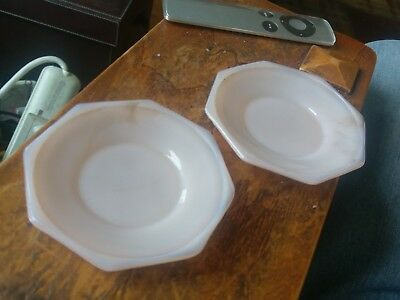 Vintage Akro Agate Pink Luster Child Dishes Set 1930's 2 Plates or Saucers ?