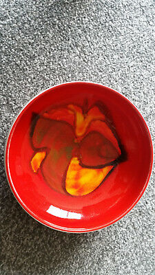 """Poole Delphis 7"""" Fruit Bowl  Retro 70S Red Abstract Vgc"""