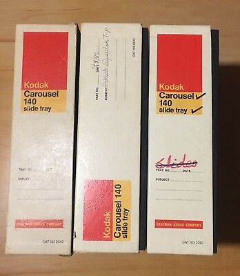 Lot of 3 Kodak Carousel Slide Trays 140 Capacity- Empty In Original Yellow Boxes