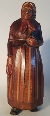 CARVED OLD WOMAN WITH BIBLE - possibly by Hans Juggler Wyss