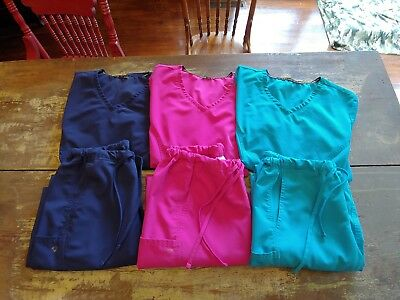 Careisma Nurse Scrubs Set Lot Women's Size Med/lg 3 Charming Complete Top Bottom