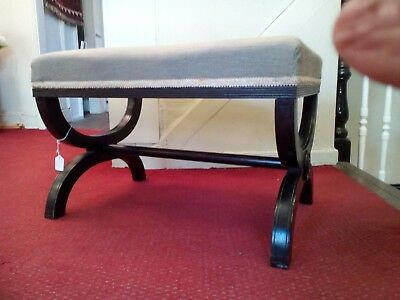 Regency style large cross leg stool with tapestry seat
