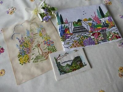 Vintage Hand Embroidered Picture Panels X 3 Beautiful Embroideries
