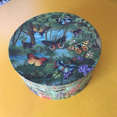 Pooch & Sweetheart Large Butterfly & Flower Hat Box Shabby Chic Country