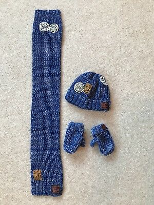 3-6 Years Boys Next Winter Hat Scarf & Gloves Blue Knitted Set Kids Age 3 4 5 6