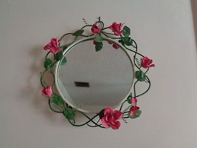 Vintage Metal Round Wall Mirror Leaves Flower Roses Toleware Shabby Cottage Chic