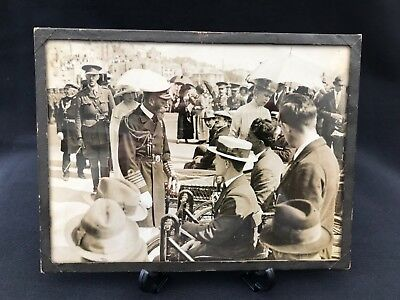 Antique Original Photograph King George V Queen Mary WWI Wounded Soldiers Framed