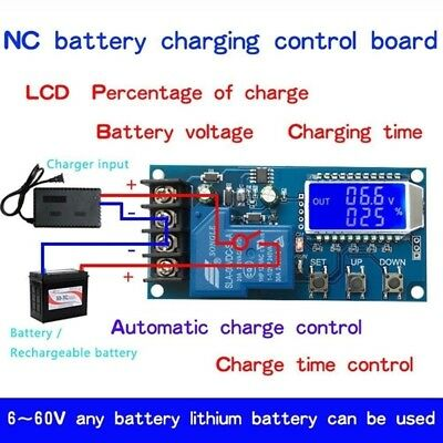 6-60v Digital LCD Lead-acid Li-ion battery charge control protection switch 12V