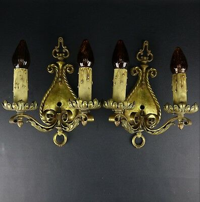 Pair ANTIQUE Double Candle Electric WALL SCONCES Pull-Chain Vintage Gold Gilt