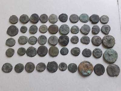 Lot Of 50 Ancient Roman Bronze Coins Uncleaned
