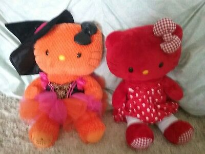 Build-A-Bear 18 in RED HELLO KITTY with CHECKERED BOW  and orange bear