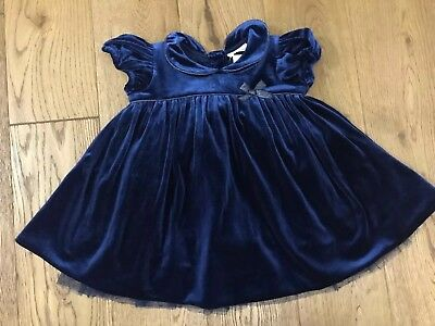 Bnwt Next Baby Girls Navy Blue Dress Button Up Lace Bottom 3-6 Months