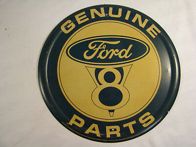 "Vintage Style Round 12"" Metal Sign GENUINE FORD V8 PARTS"