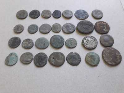 Lot Of 28 Ancient Roman Bronze Coins Uncleaned