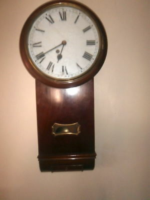 A MAHOGANY CASED DROP DIAL WALL CLOCK with fusee movement C1880